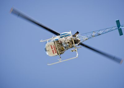 Aerial survey helicopter in flight